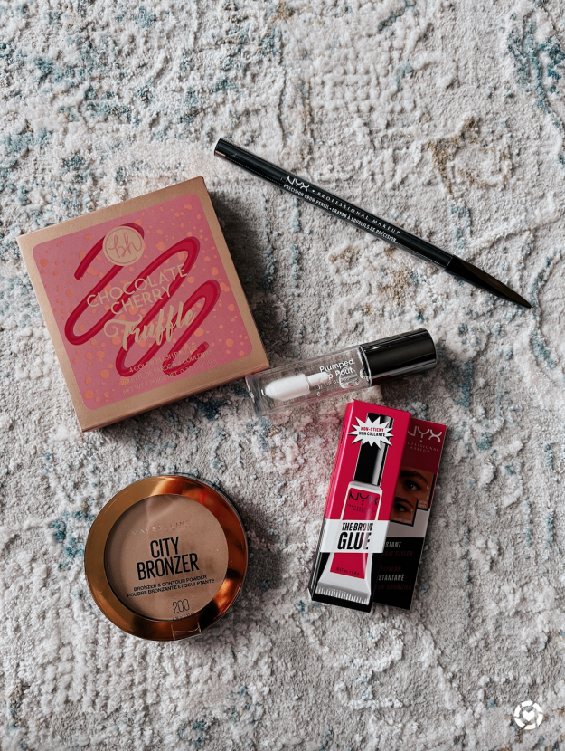 Maybelline bronzer, NYX brow gel, Ulta lip gloss, NYX eyebrow pencil, BH cosmetics blush palette